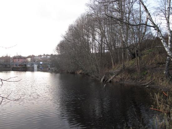 Brekekdammen, skrningen ned mot dammen hvor kjerraten til Brekkesaga lå.