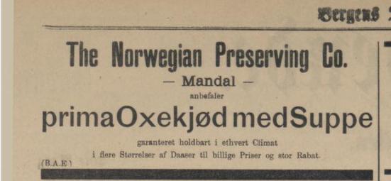 Avisannonse fra Bergens tidende 18. august 1897 (Ingressbilde)