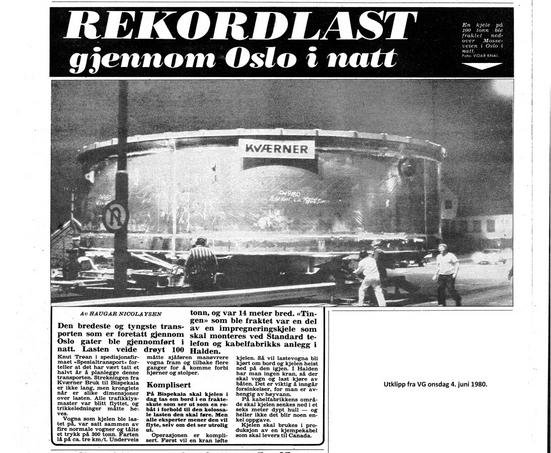 Avisutklipp VG den 4. juni 1980