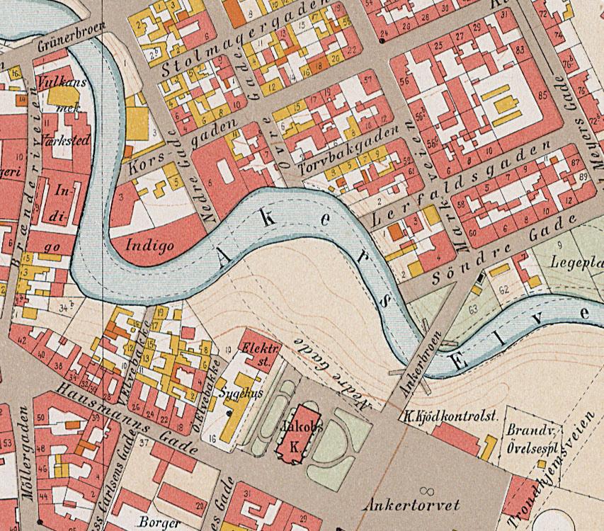 akerselva kart Historiske kart fra Elvebakken / Ankerløkken, Akerselva  akerselva kart